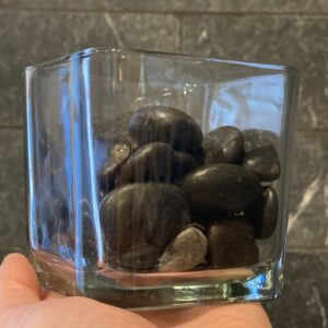 3 inch sq vase with rocks