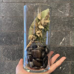 cylinder vase with mini dried bunch